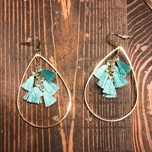 Baublebar tassel teal and gold earrings